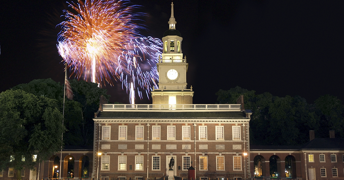 Firework over Independence Hall