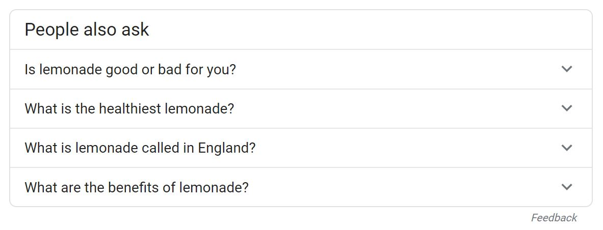 People Also Ask results for lemonade