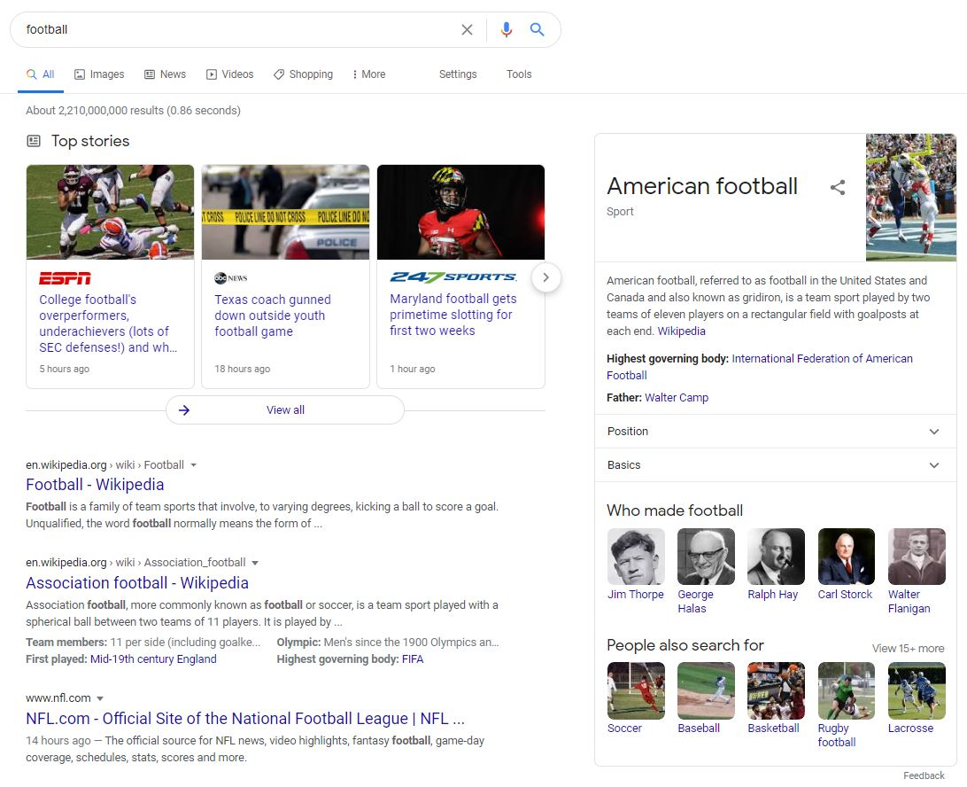 """Google search results for """"football"""""""