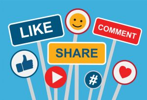 Social media like and share buttons